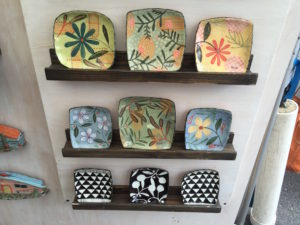 Ceramic plates by Nancy Gardner and Burton Isenstein from Cherry Creek Arts Festival July 2016 express the Earth Element.