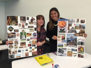Attendees from a Vision Board workshop show off their completed boards!